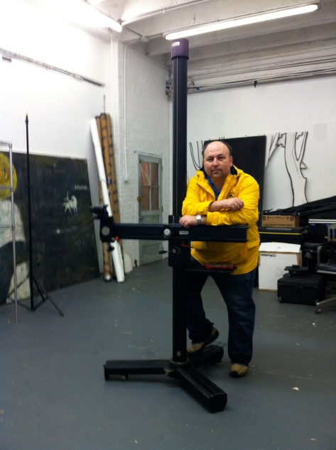 The INKA studio stand, and me, in the studio