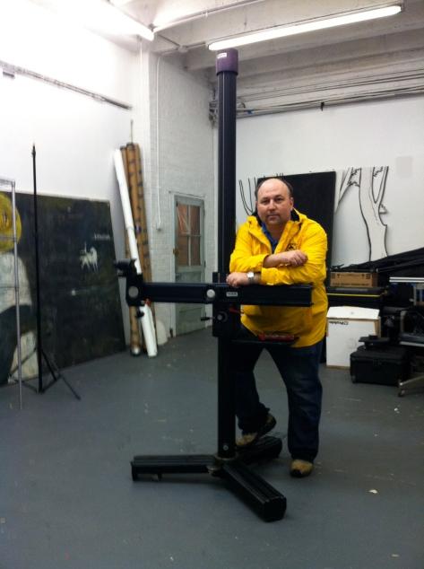 The INKA studio stand, and me, in the studio
