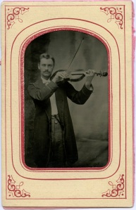 Tintype, Violinist, in presentation mat