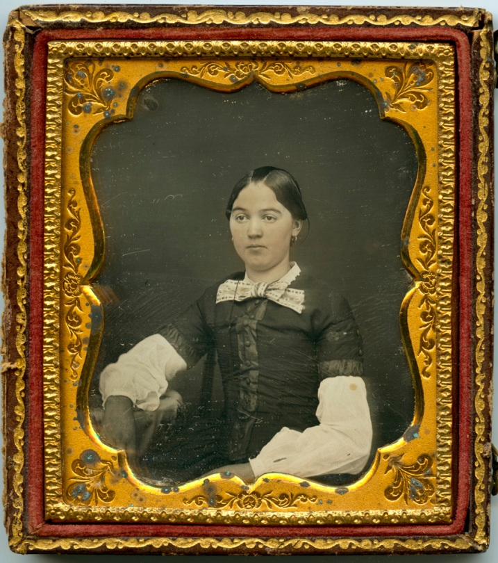 Anonymous Daguerreotype, Young Girl, Hand-colored, in Half Case