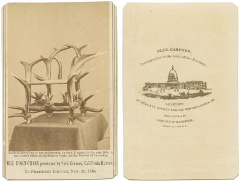 Seth Kinman's Elkhorn Chair, Presented to A. Lincoln, November 26, 1864