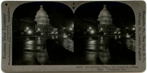 The US Capitol Dome reflected in the rain