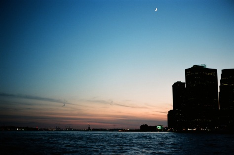 NY Harbor - Brooklyn View, with Moon and Statue of Liberty
