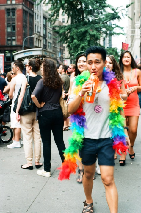 Asian guy with rainbow boa, NY Pride 2012