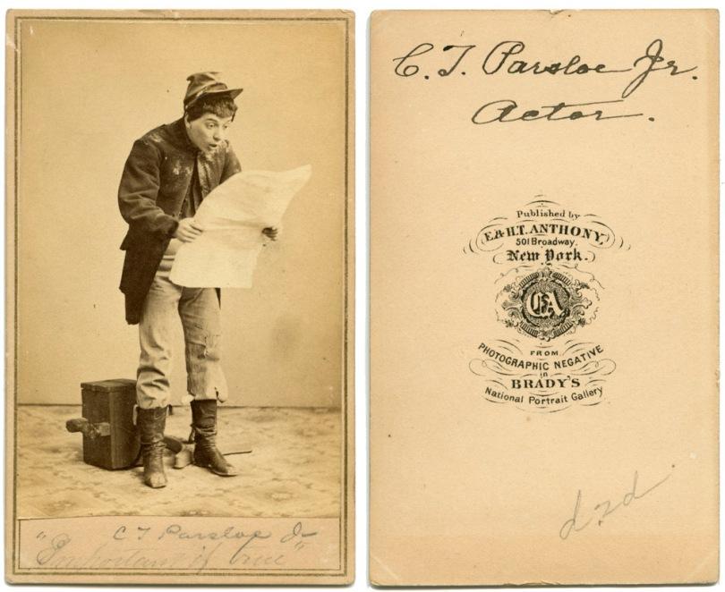 """C.T. Parsloe, Jr, Actor- by Brady. """"Important if true"""""""