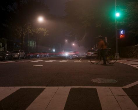 Daring Cyclist, Fog, 11th & Euclid