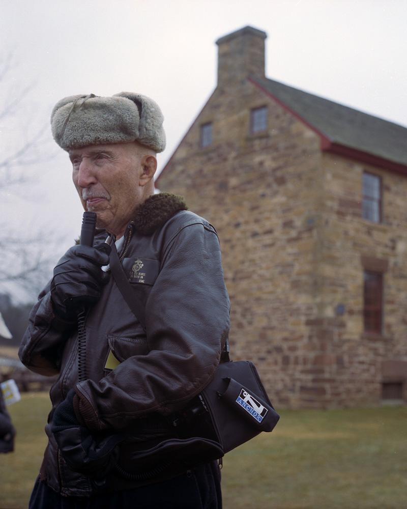 Ed Bearss talking in front of the Stone House, Manassas Battlefield