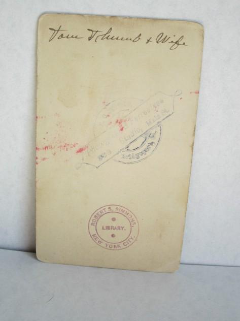 Verso, Tom Thumb & Lavinia Warren, Bridgeport, CT