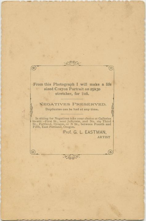 Verso, G.L. Eastman portrait