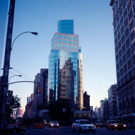 Bow-front building, Manhattan, Evening