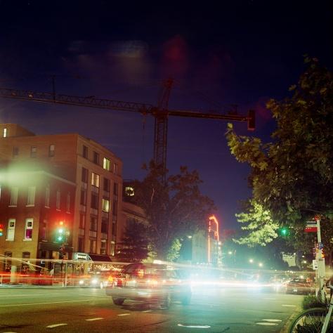 Crane, Traffic, 14th Street, Dusk