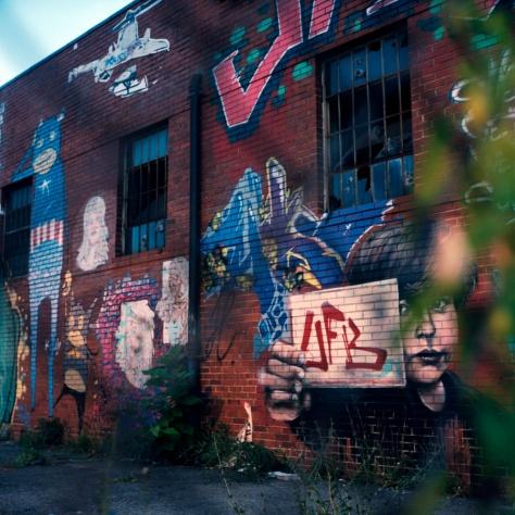 Graffiti, Chain Link Fence, Twilight