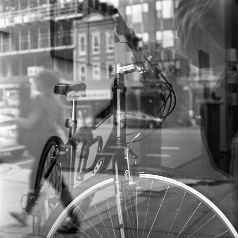 Bicycle, Pedestrian, Gallery Window, Self-Portrait