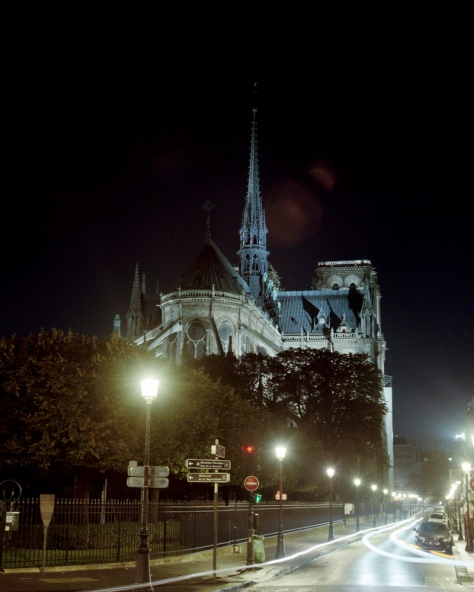 Notre Dame, Rear View, Night