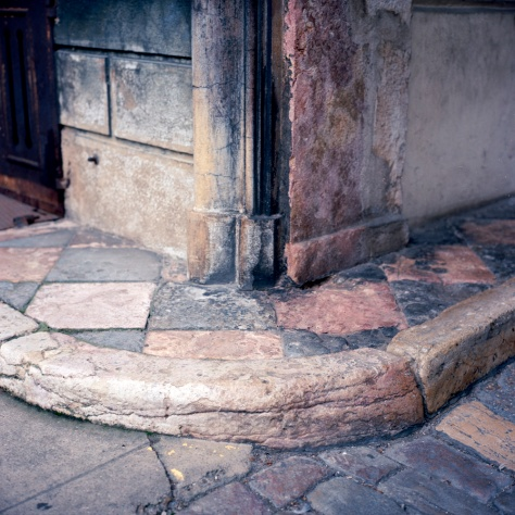 Red and Black Marble Sidewalk, 17th Century Courtyard