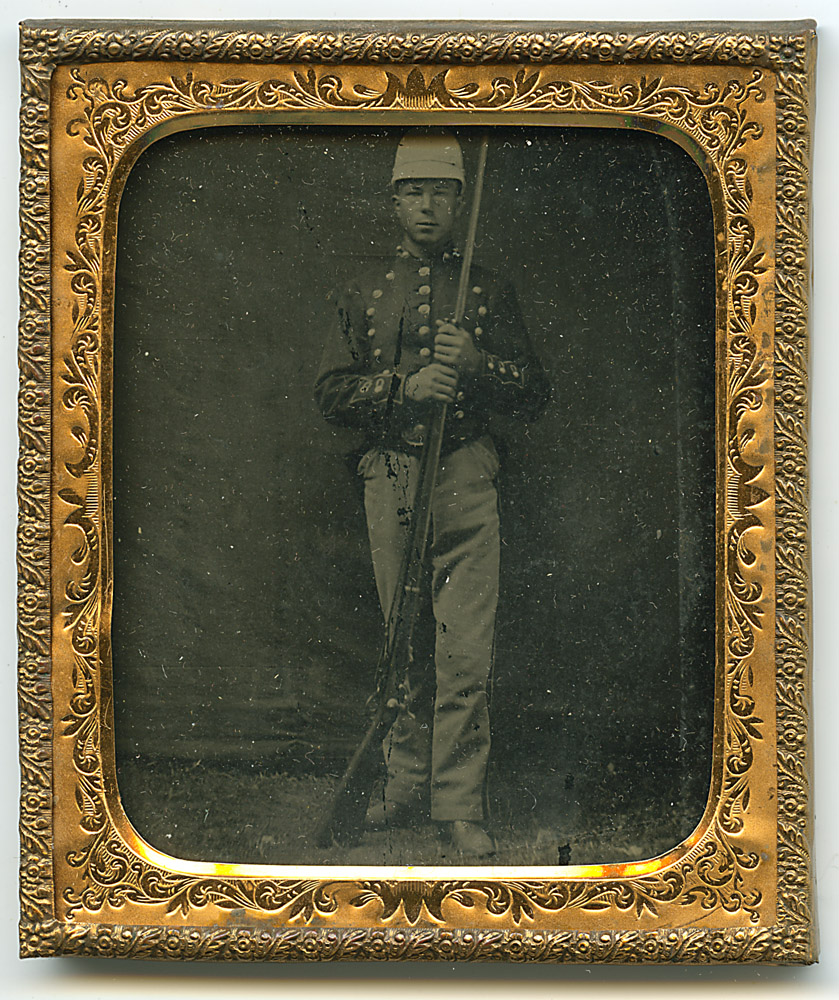 Soldier Tintype, mat, frame and glass packet
