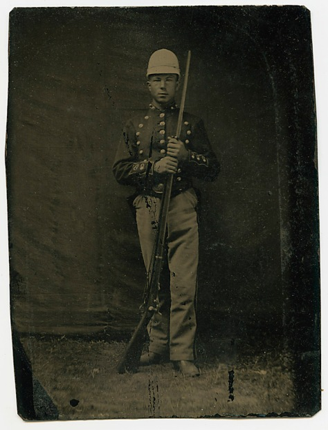 Soldier in Pith Helmet Tintype, out of packet