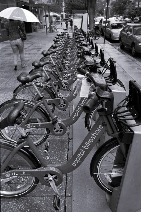 Bikeshare Downtown, in the Rain