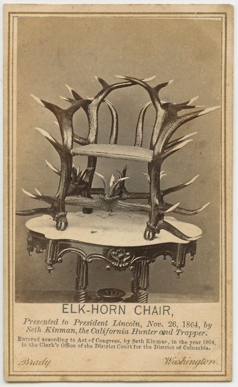 Elkhorn Chair given to A. Lincoln by Seth Kinman, 1864
