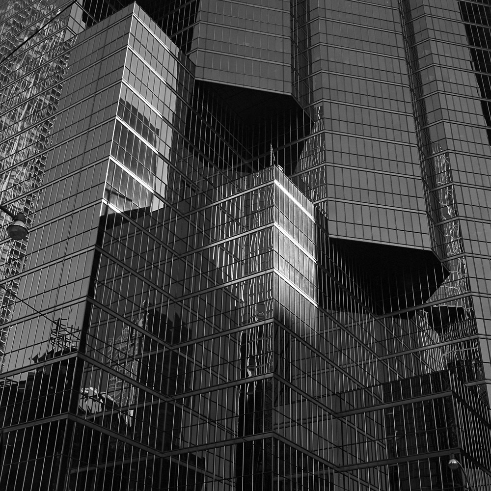Two Streetlamps, Reflections, Glass and Steel
