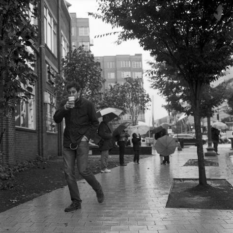 Starbucks Man, in the Rain