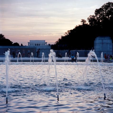 WW II Memorial, Fountain, Lincoln Memorial, Sunset
