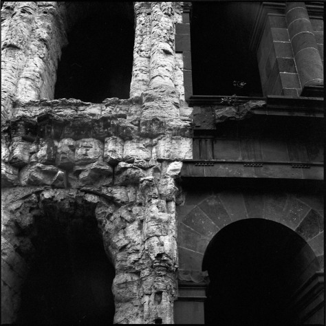 Theater of Marcellus, Detail, Black-and-White